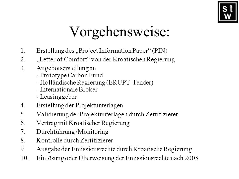 """Vorgehensweise: Erstellung des """"Project Information Paper (PIN)"""