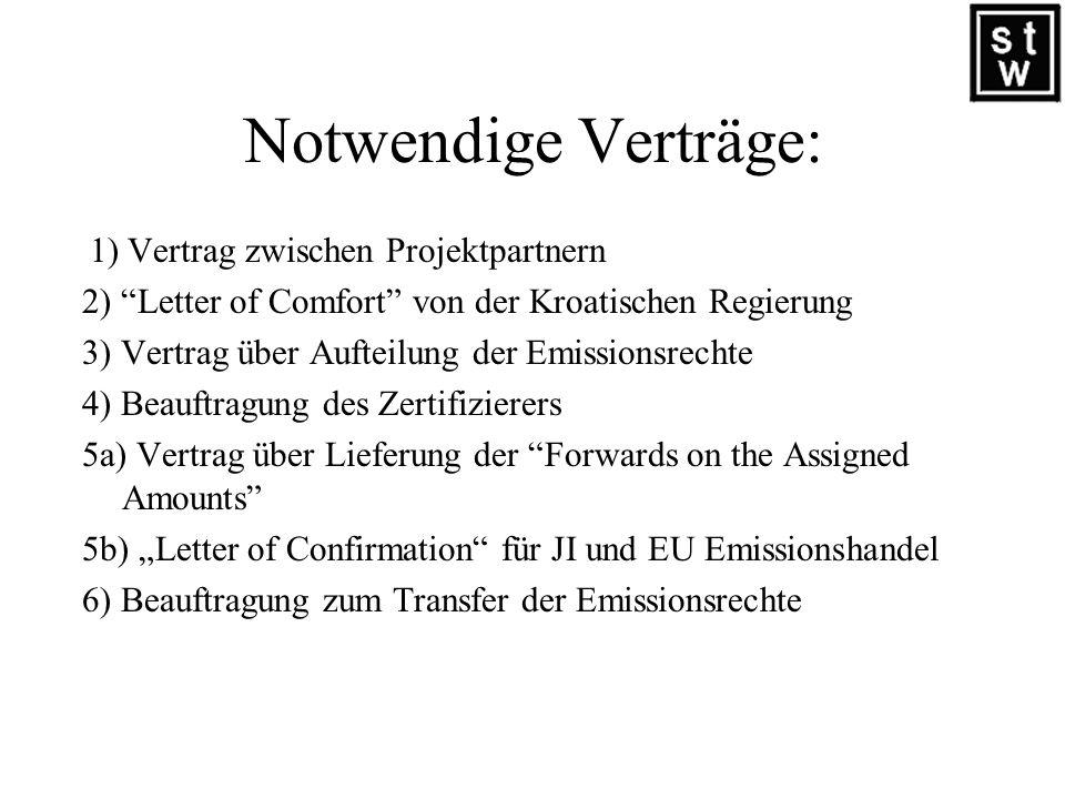 Notwendige Verträge: 1) Vertrag zwischen Projektpartnern. 2) Letter of Comfort von der Kroatischen Regierung.