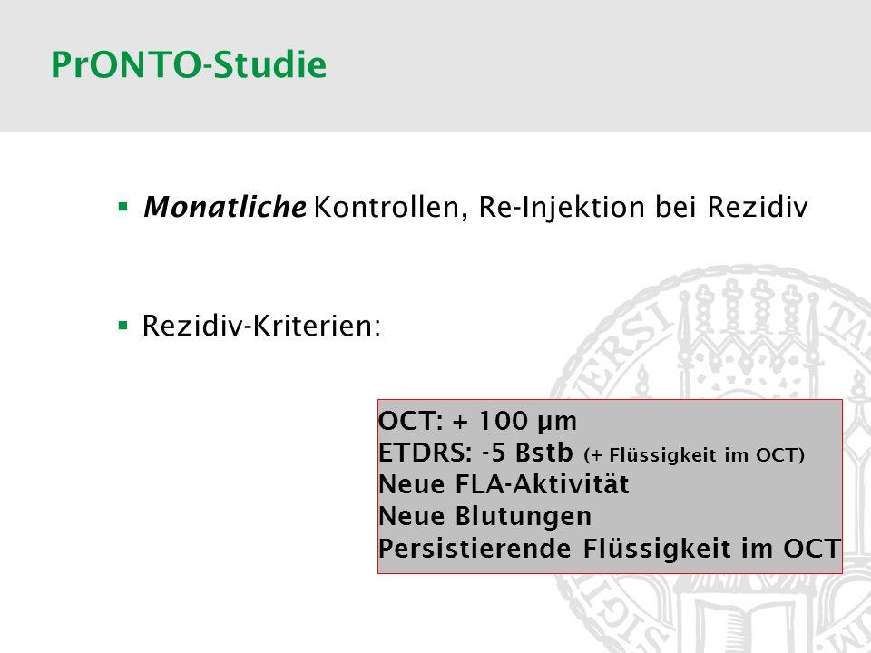 PrONTO-Studie Monatliche Kontrollen, Re-Injektion bei Rezidiv