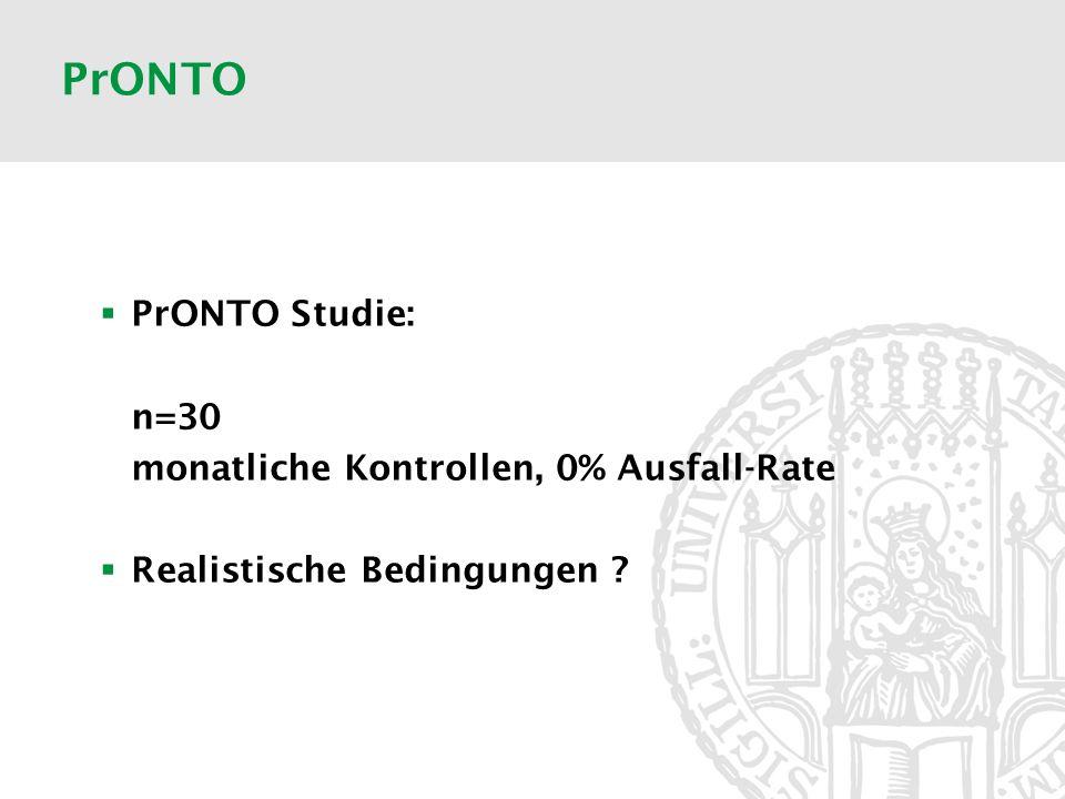 PrONTO PrONTO Studie: n=30 monatliche Kontrollen, 0% Ausfall-Rate