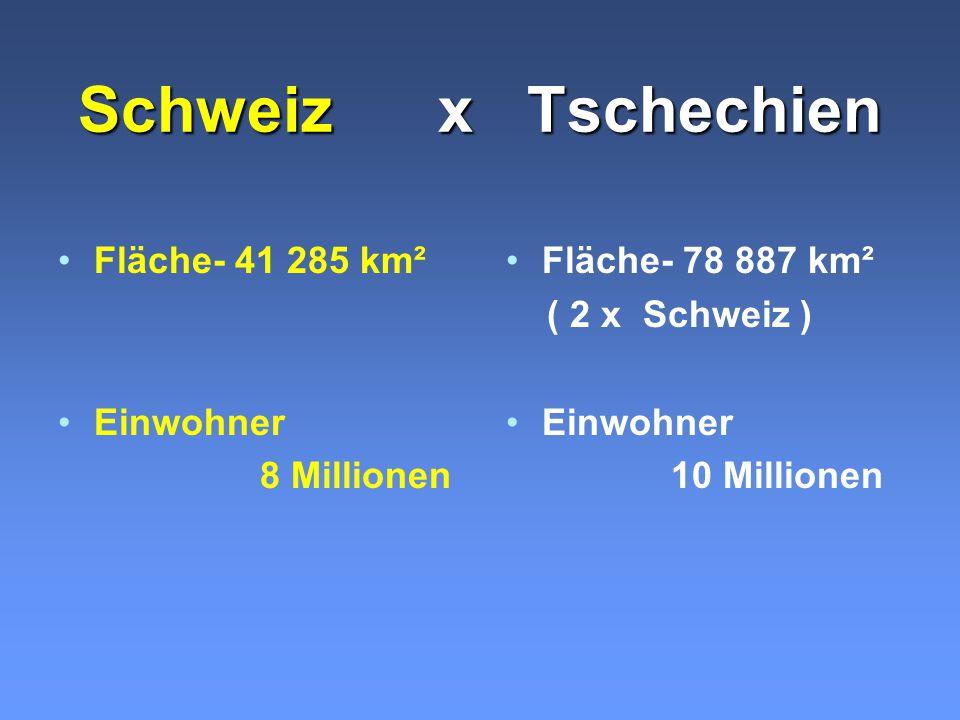 Schweiz x Tschechien Fläche- 41 285 km² Einwohner 8 Millionen