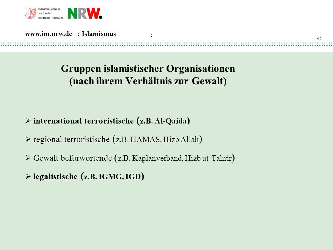 Gruppen islamistischer Organisationen (nach ihrem Verhältnis zur Gewalt)