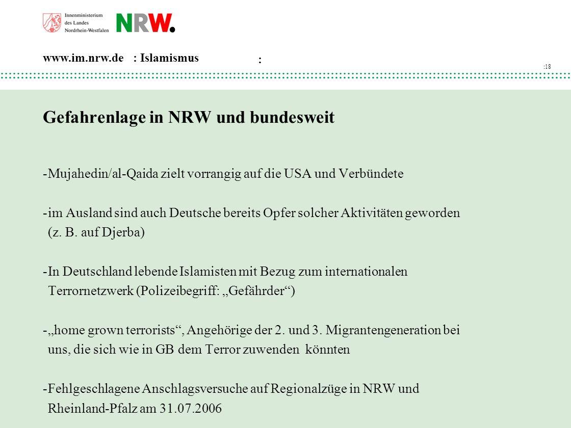 Gefahrenlage in NRW und bundesweit