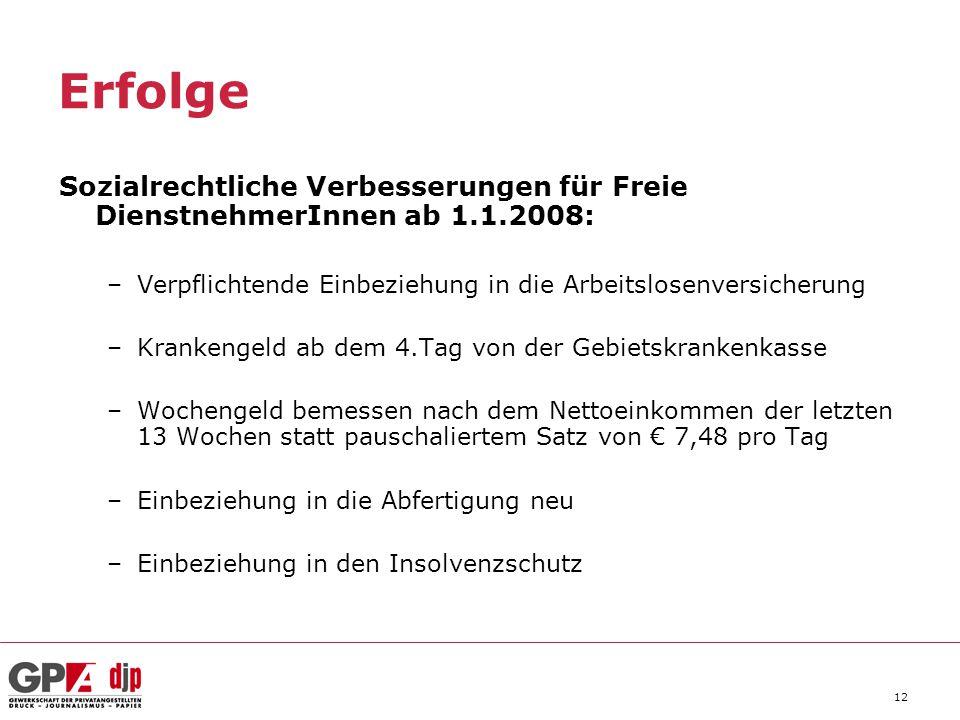 Erfolge Sozialrechtliche Verbesserungen für Freie DienstnehmerInnen ab 1.1.2008: Verpflichtende Einbeziehung in die Arbeitslosenversicherung.