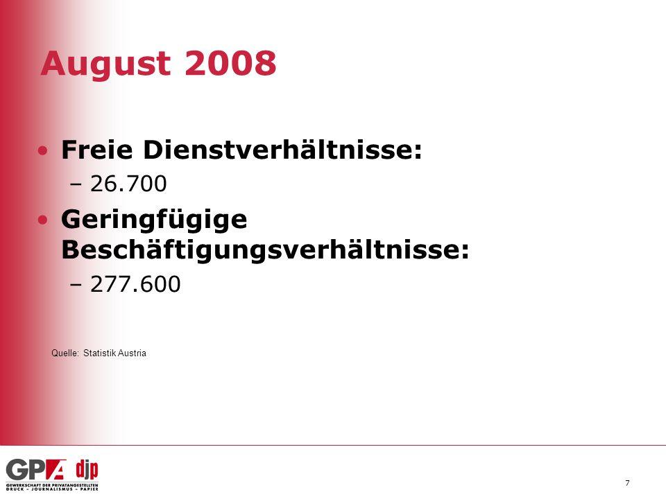 August 2008 Freie Dienstverhältnisse: