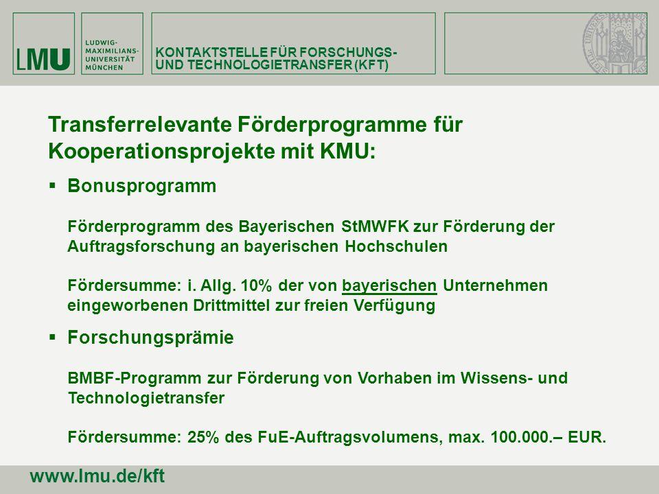 Transferrelevante Förderprogramme für Kooperationsprojekte mit KMU: