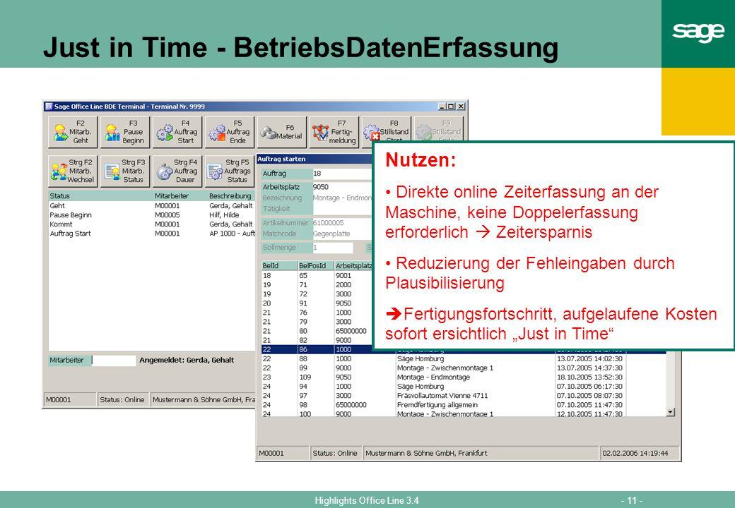 Just in Time - BetriebsDatenErfassung