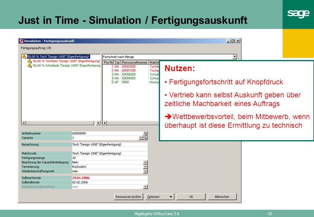 Just in Time - Simulation / Fertigungsauskunft