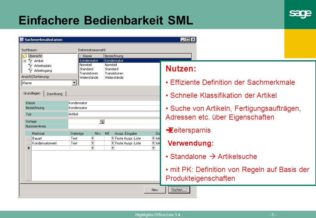Einfachere Bedienbarkeit SML