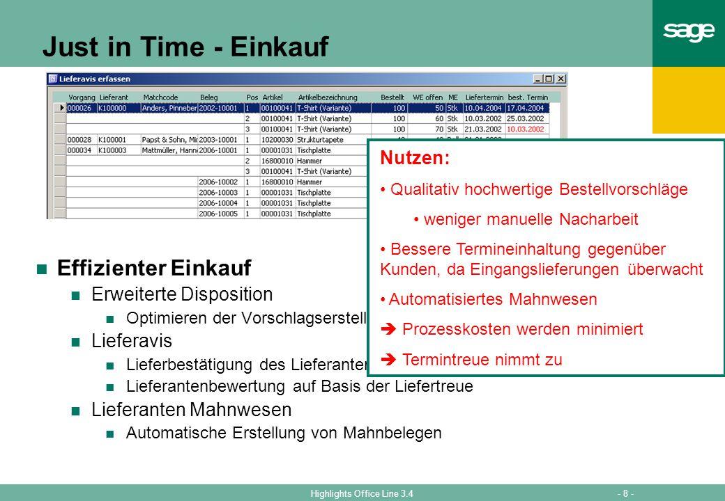 Just in Time - Einkauf Effizienter Einkauf Nutzen: