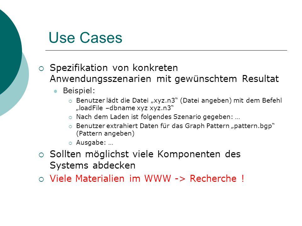 Use Cases Spezifikation von konkreten Anwendungsszenarien mit gewünschtem Resultat. Beispiel: