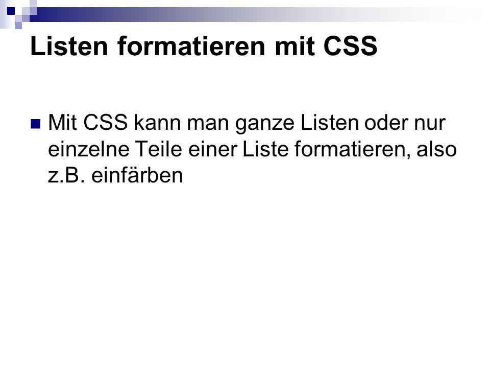 Listen formatieren mit CSS