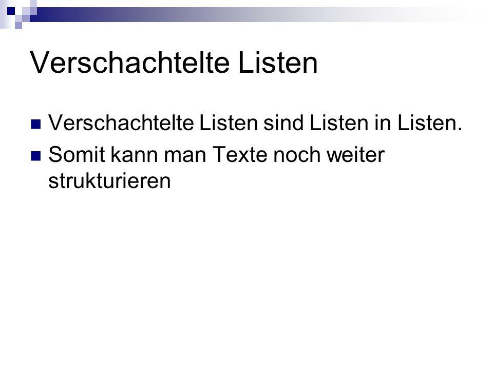 Verschachtelte Listen