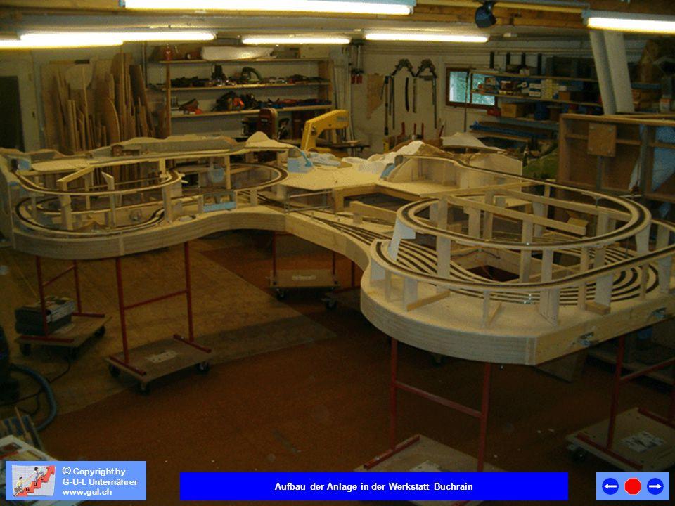 Aufbau der Anlage in der Werkstatt Buchrain