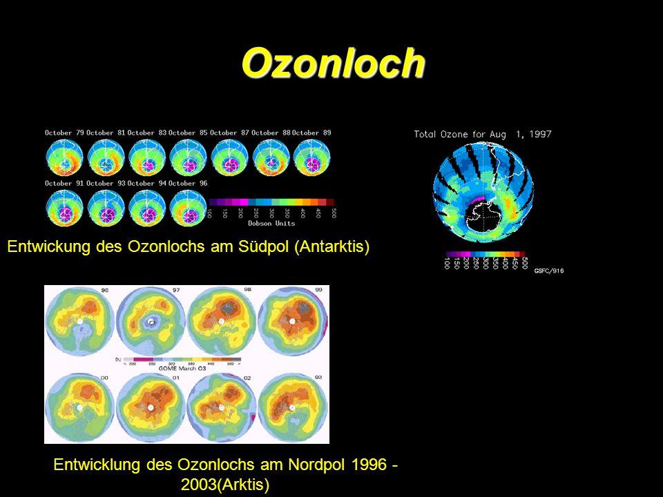 Entwicklung des Ozonlochs am Nordpol 1996 - 2003(Arktis)