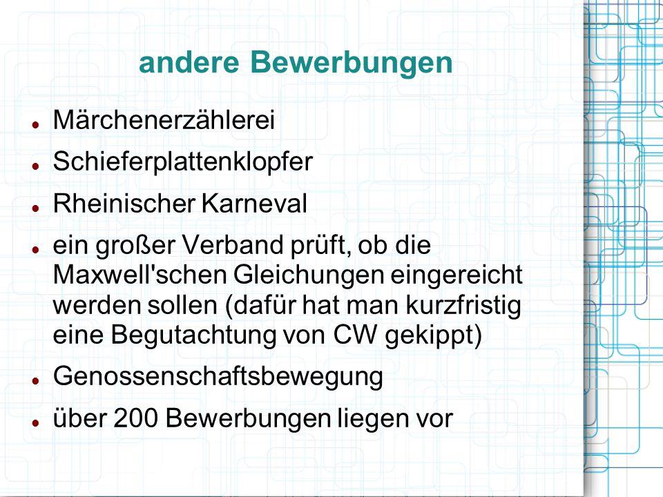 andere Bewerbungen Märchenerzählerei Schieferplattenklopfer