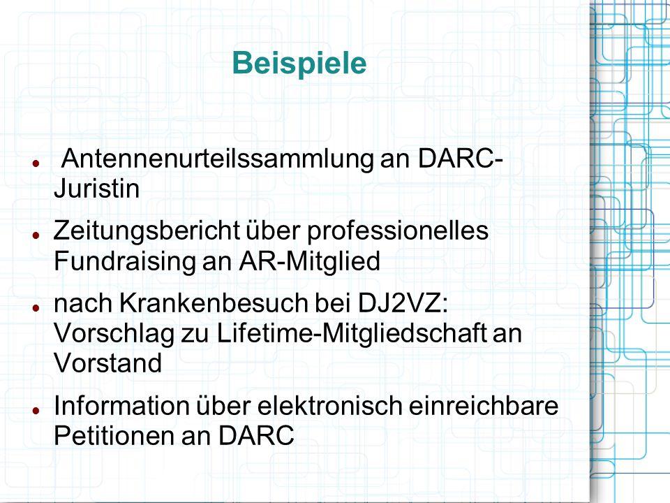Beispiele Antennenurteilssammlung an DARC- Juristin