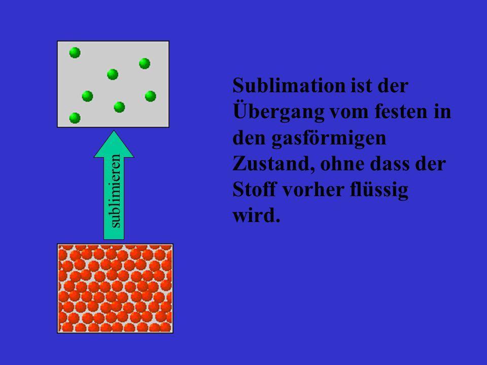 Sublimation ist der Übergang vom festen in den gasförmigen Zustand, ohne dass der Stoff vorher flüssig wird.