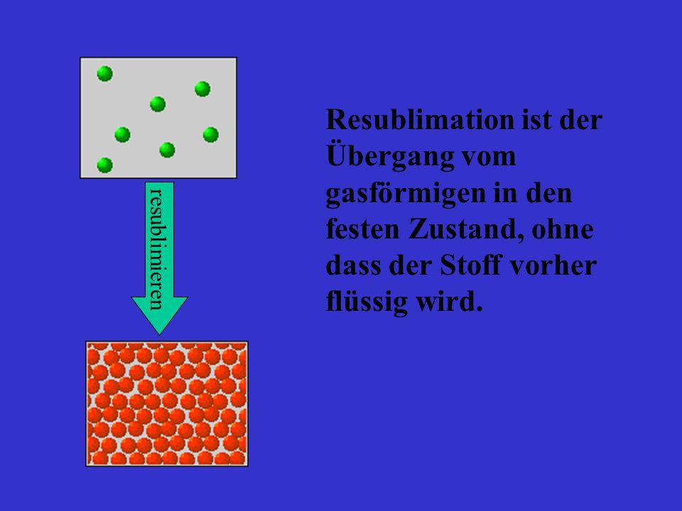 Resublimation ist der Übergang vom gasförmigen in den festen Zustand, ohne dass der Stoff vorher flüssig wird.
