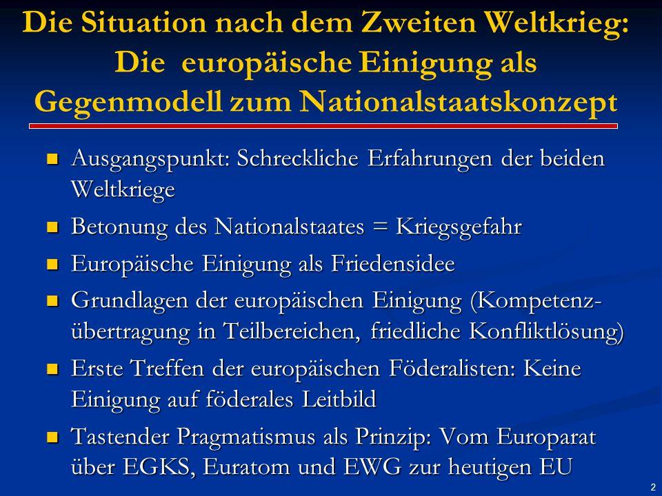 Die Situation heute: Weitgehende Verunsicherung im Hinblick auf die Zukunft Europas