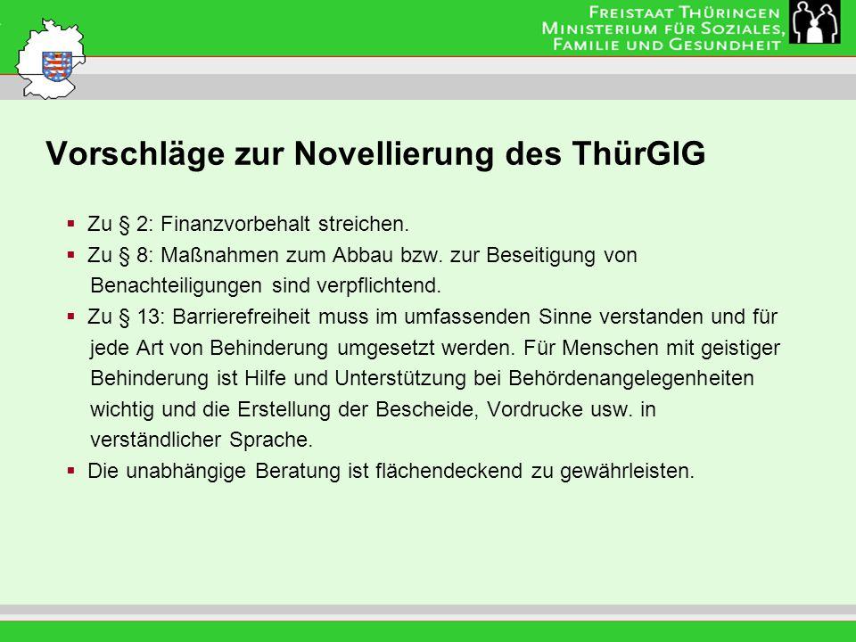Vorschläge zur Novellierung des ThürGlG