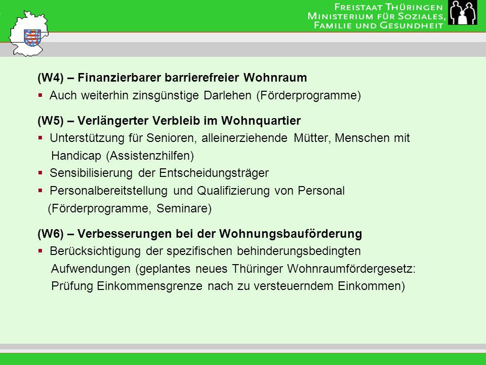 (W4) – Finanzierbarer barrierefreier Wohnraum