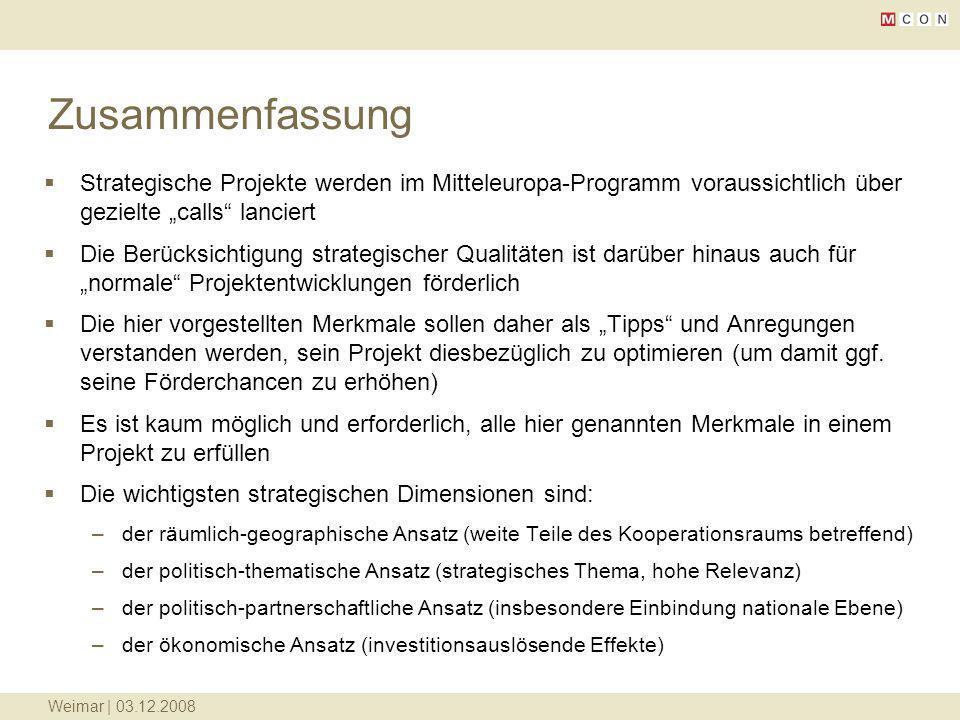"""Zusammenfassung Strategische Projekte werden im Mitteleuropa-Programm voraussichtlich über gezielte """"calls lanciert."""