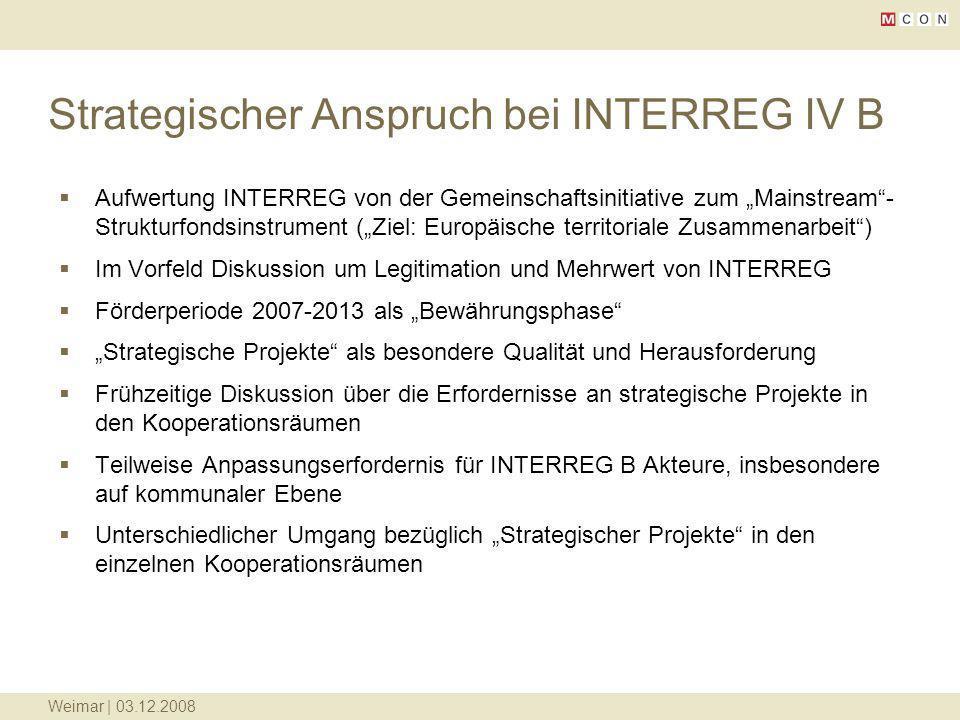 Strategischer Anspruch bei INTERREG IV B