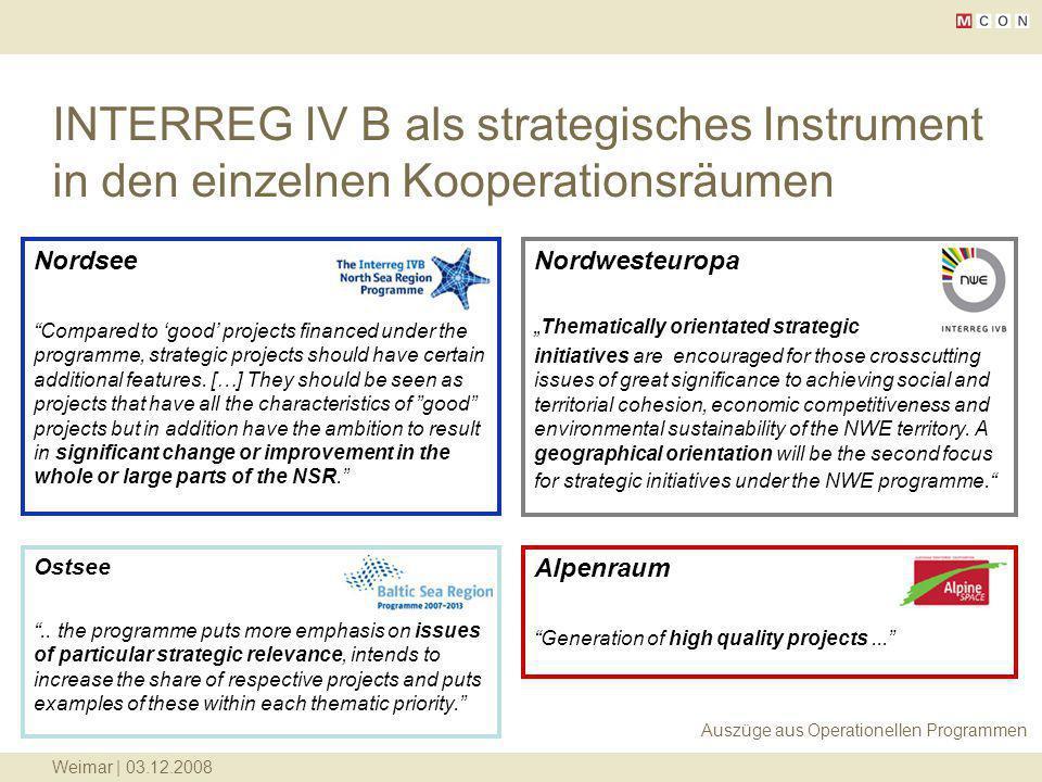 INTERREG IV B als strategisches Instrument in den einzelnen Kooperationsräumen