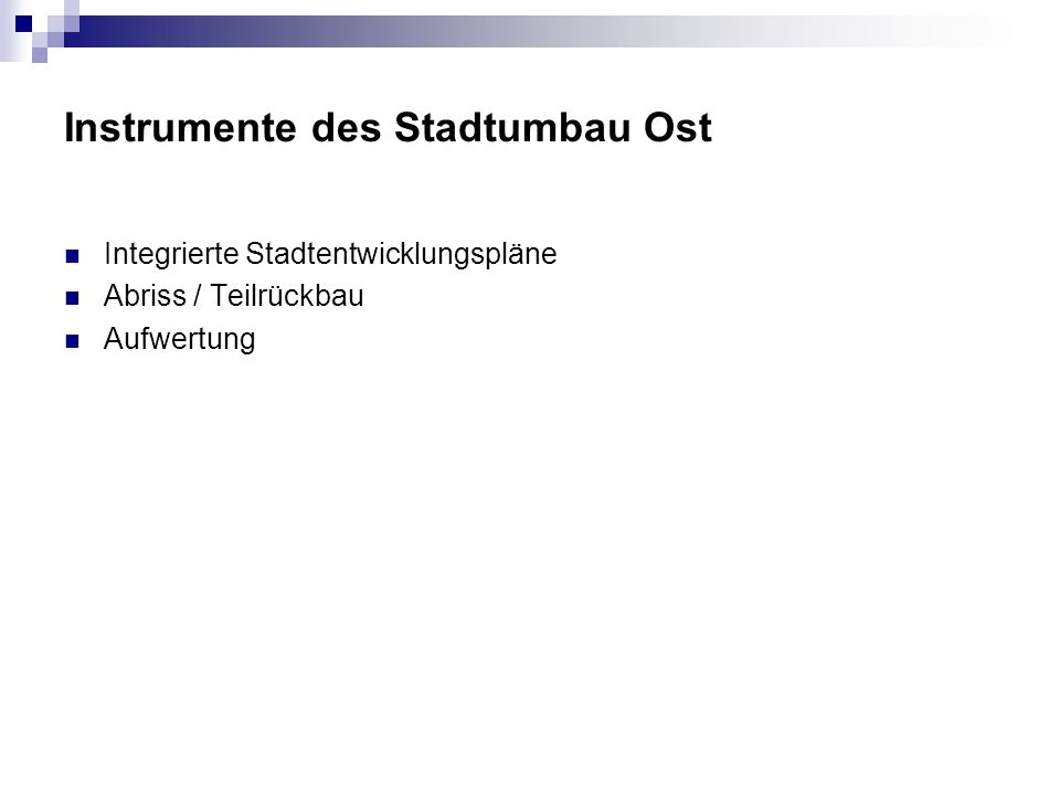 Instrumente des Stadtumbau Ost