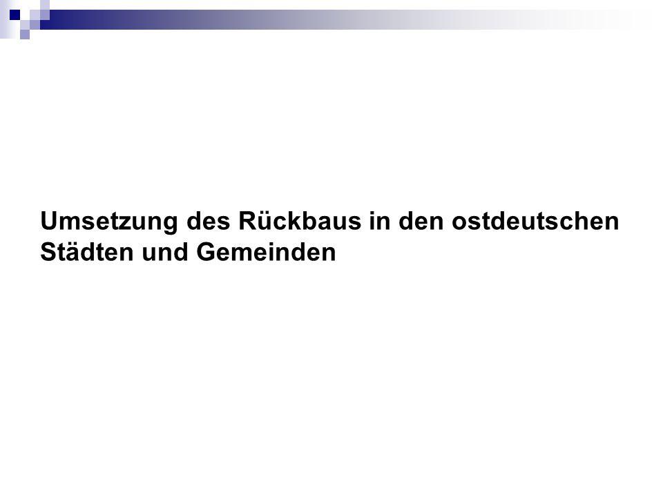 Umsetzung des Rückbaus in den ostdeutschen Städten und Gemeinden
