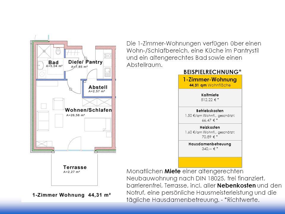 Die 1-Zimmer-Wohnungen verfügen über einen Wohn-/Schlafbereich, eine Küche im Pantrystil und ein altengerechtes Bad sowie einen Abstellraum.