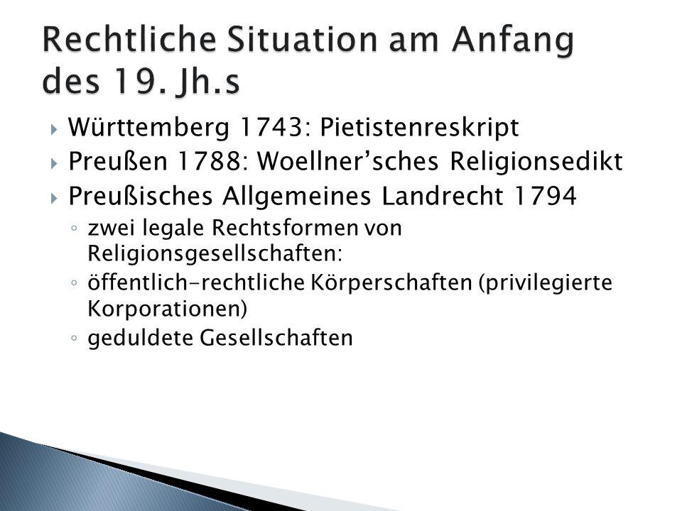 Rechtliche Situation am Anfang des 19. Jh.s