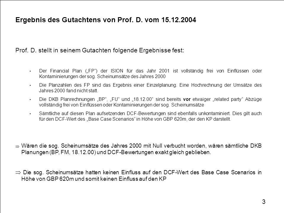 Ergebnis des Gutachtens von Prof. D. vom 15.12.2004