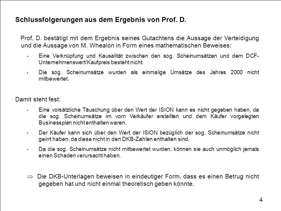 Schlussfolgerungen aus dem Ergebnis von Prof. D.