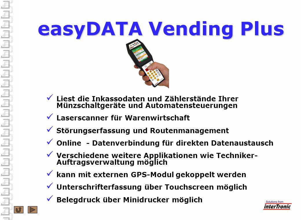 easyDATA Vending Plus Liest die Inkassodaten und Zählerstände Ihrer Münzschaltgeräte und Automatensteuerungen.