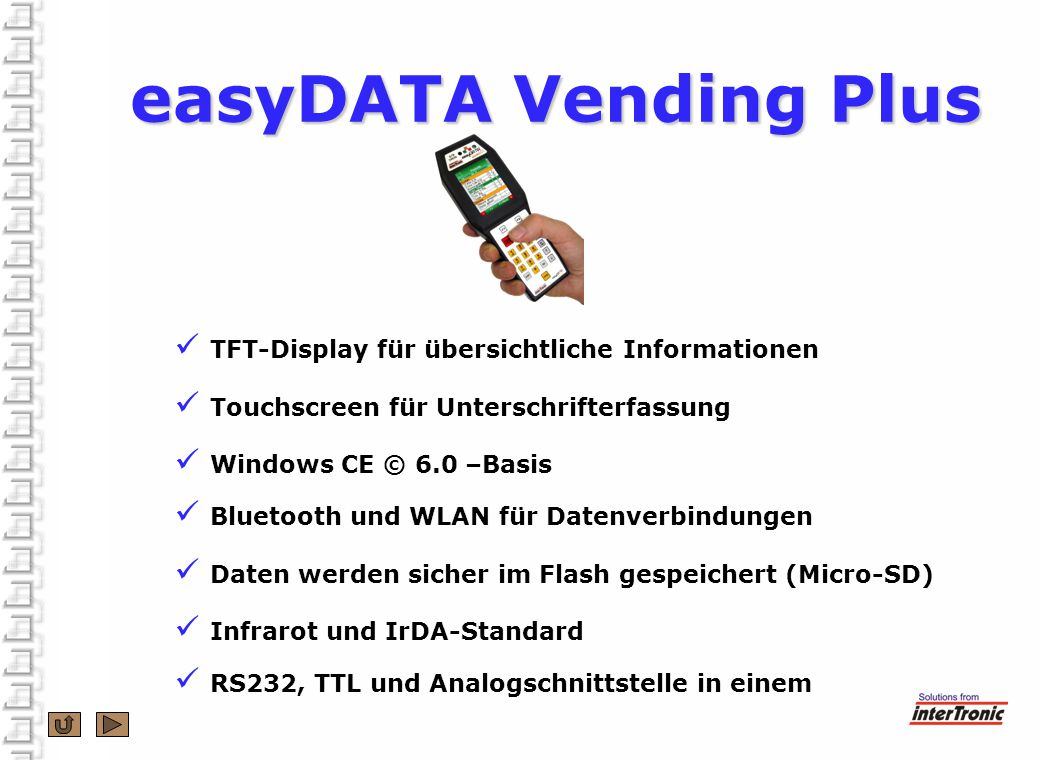 easyDATA Vending Plus TFT-Display für übersichtliche Informationen