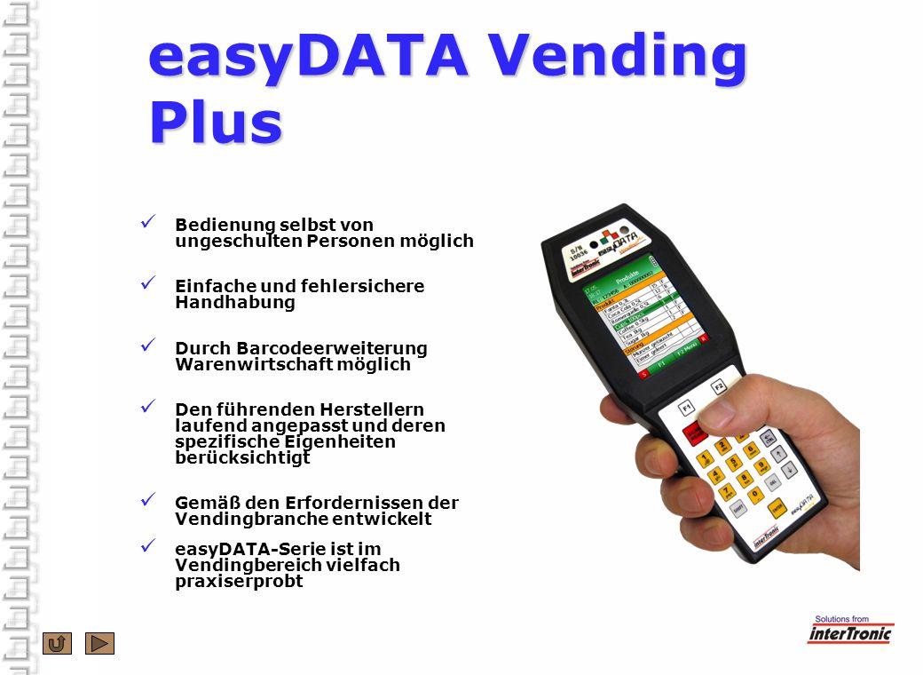 easyDATA Vending Plus Bedienung selbst von ungeschulten Personen möglich. Einfache und fehlersichere Handhabung.