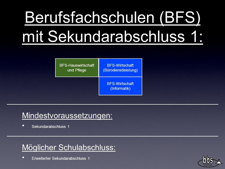 Berufsfachschulen (BFS) mit Sekundarabschluss 1:
