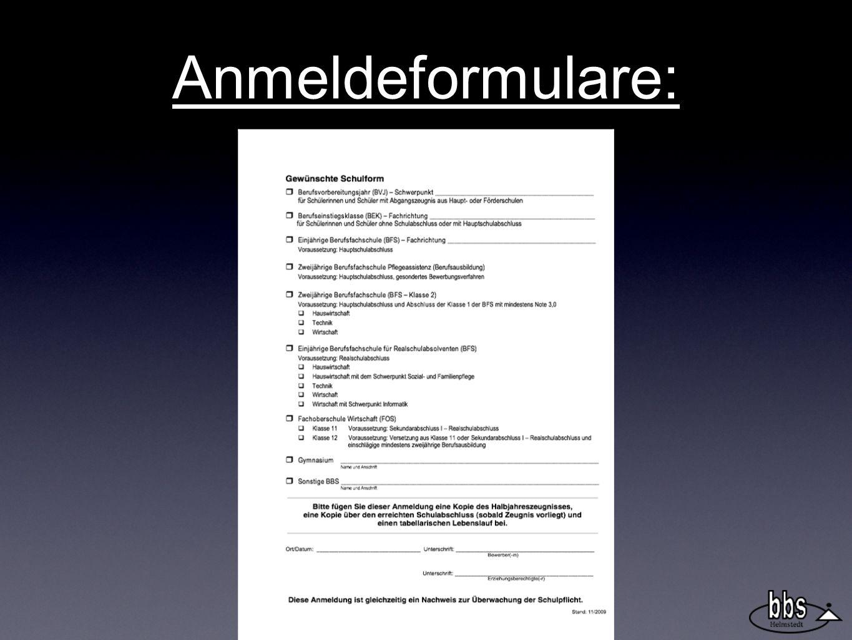 Anmeldeformulare: