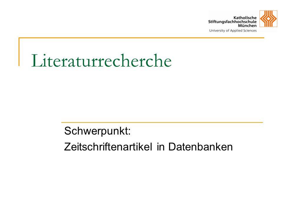 Schwerpunkt: Zeitschriftenartikel in Datenbanken