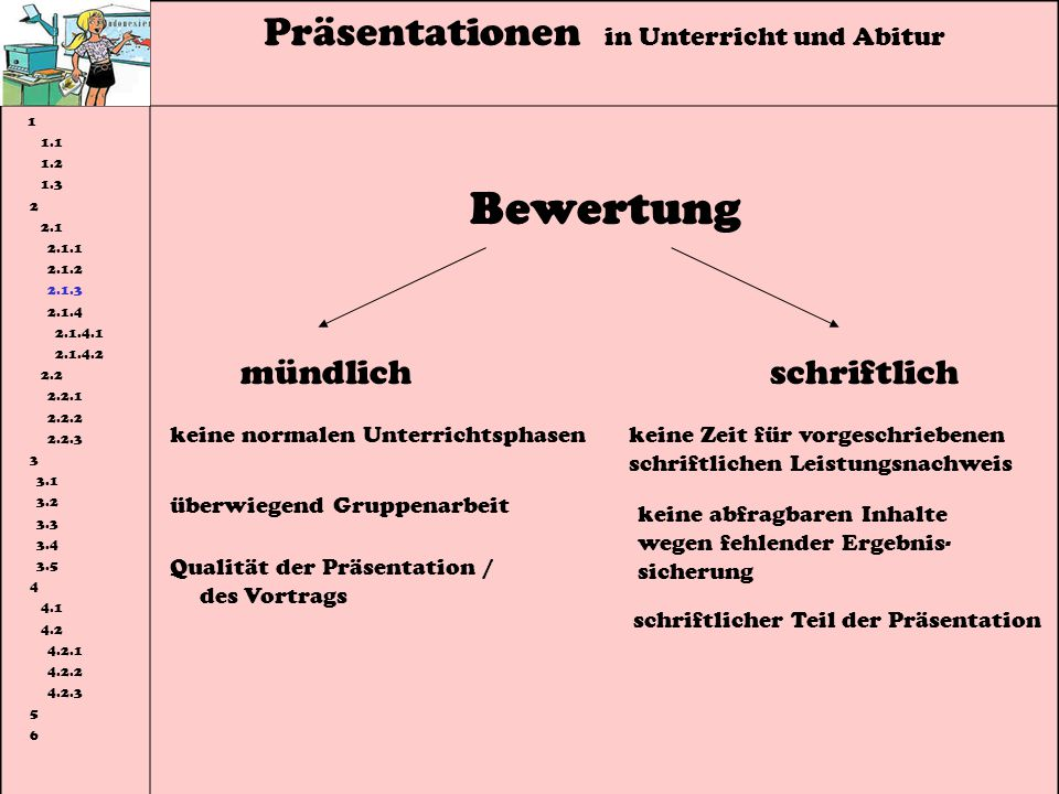 Bewertung Präsentationen in Unterricht und Abitur mündlich schriftlich