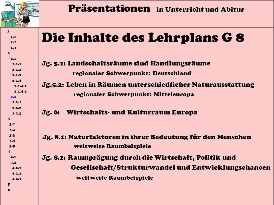 Die Inhalte des Lehrplans G 8