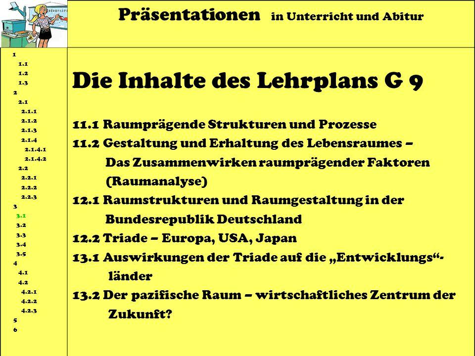Die Inhalte des Lehrplans G 9