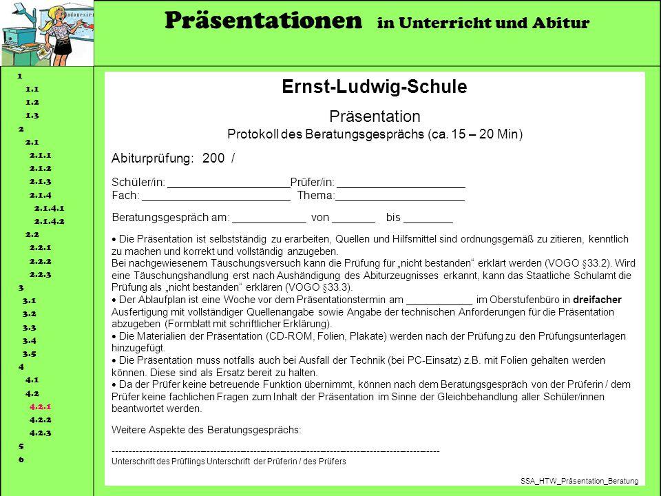 Protokoll des Beratungsgesprächs (ca. 15 – 20 Min)