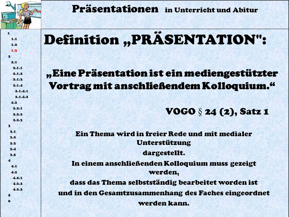 "Definition ""PRÄSENTATION :"