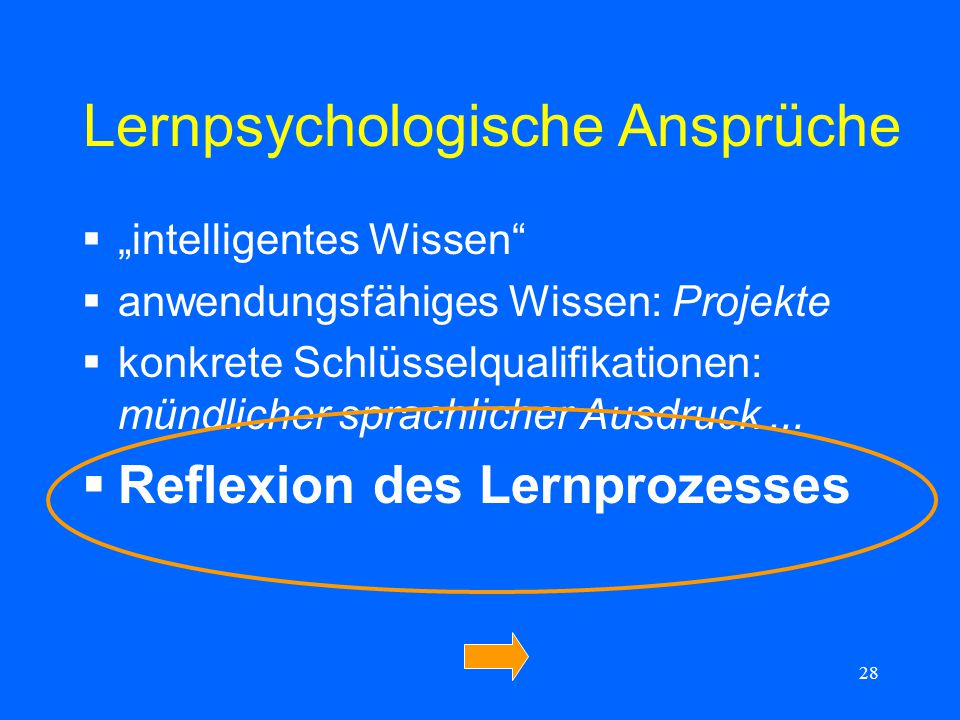 Lernpsychologische Ansprüche