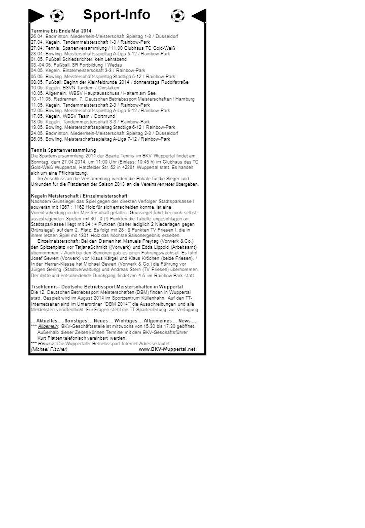 Sport-Info Termine bis Ende Mai 2014