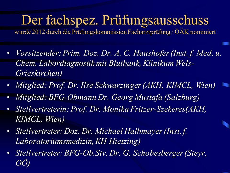 Der fachspez. Prüfungsausschuss wurde 2012 durch die Prüfungskommission Facharztprüfung / ÖÄK nominiert