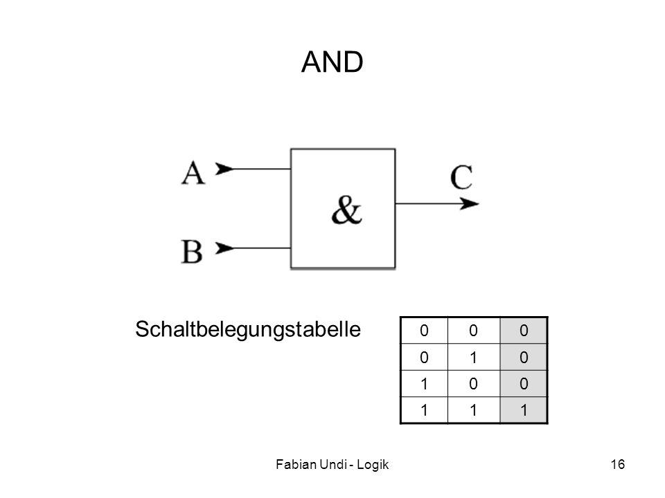 AND Schaltbelegungstabelle 1 Fabian Undi - Logik